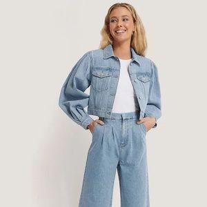 NWT Puff Sleeve Oversized Denim Jacket